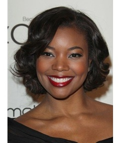 Elegant Gabrielle Union Short Wavy Lace Front Human Hair Wig 10 Inches