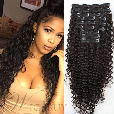 Human Hair African Curly 7 PCS Clip In Hair Extensions