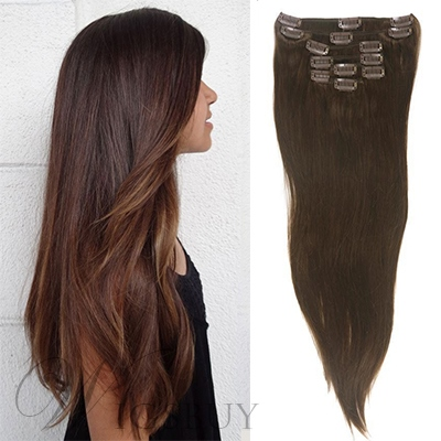 Silk Straight Human Hair 7 PCS Clip In Hair Extensions
