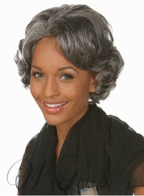 Salt and Pepper Short Wavy Capless Synthetic Hair Wigs 10 Inches for Older Women