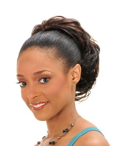 African American Short Slight Wave Synthetic Drawstring Ponytail