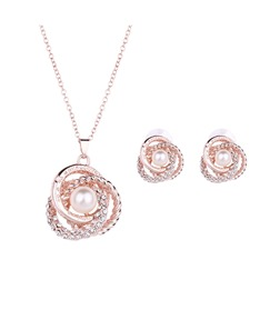 Pearl Diamante Shining Jewelry Set