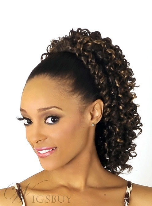 Medium Length Deep Curly Synthetic Ponytail for Black Women