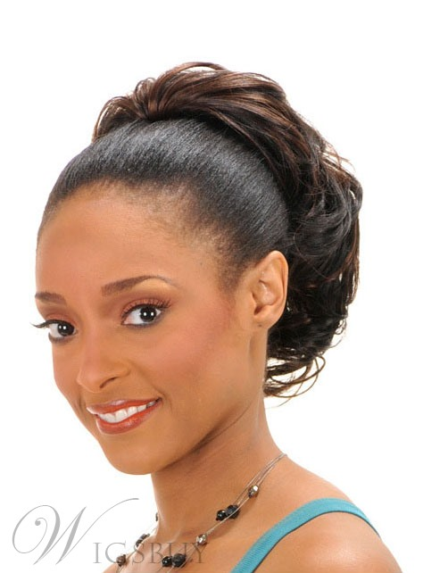 ponytail hairstyles black hair styles american slight wave synthetic drawstring 9572