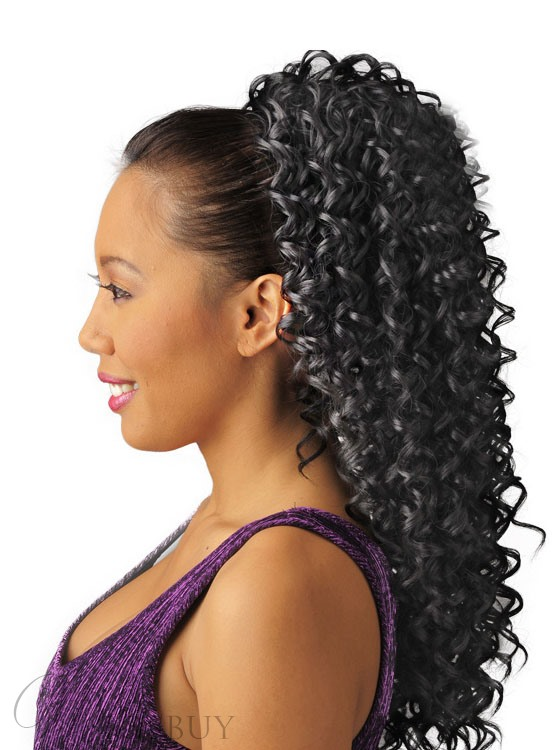 Long Deep Curly Synthetic African American Drawstring