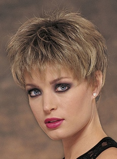 Hot Sale Layered Short Straight Silk Synthetic Hair Wig Capless