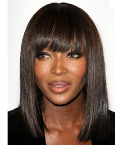 Hot Sale Medium Straight Full Bangs Capless Synthetic Hair Wig 14 Inches