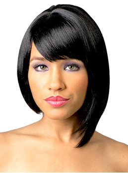 Asymmetrical Style Medium Straight Capless Synthetic Hair Wig 14 Inches