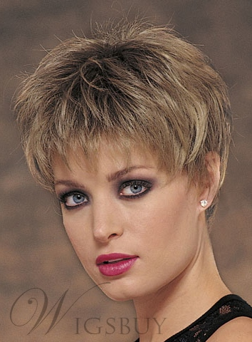 Hot Sale Layered Short Straight Silk Synthetic Hair Wig Capless 11623380