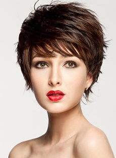 Attractive Straight Short Layered Capless Wig Synthetic Hair Wig