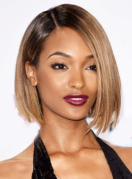 Jourdan Dunn Medium Straight Lob Hairstyle Human Hair Lace Front Wig 12 Inches