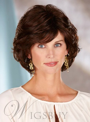 Short Wavy Synthetic Hair Capless Wigs 10 Inches for Older Women