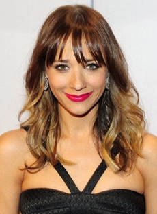 Rashida Jones Medium Wavy Capless Synthetic Hair Wigs 16 Inches