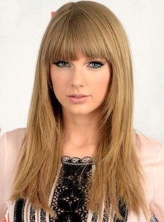 Fashion Taylor Swift Style Long Straight 24 Inches Synthetic Hair Wig