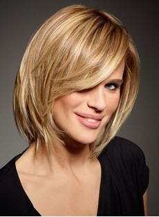 Invert Short Straight Bob Hairstyle Human Hair Capless Side Bang Women Wigs
