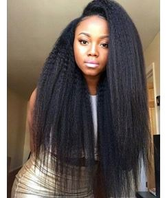 Natural Black Kinky Straight Human Hair Weave 1 PC