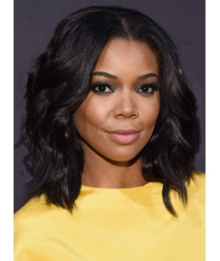 Gabrielle Union Lob Medium Wavy Lace Front Human Hair Wig 14 Inches