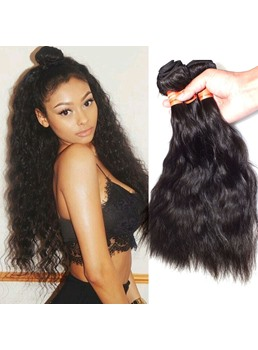 Virgin Hair Brazilian Natural Wave Natural Black Human Hair Weave 1 PC