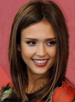 Jessica Alba Long 14 Inches Top Quality Human Hair Lace Front Cap Wig