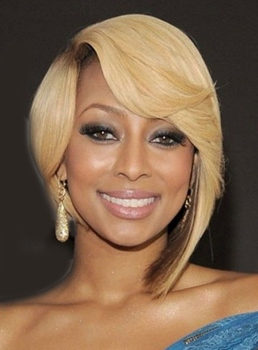 Keri Hilson Medium Straight Asymmetric Full Lace Human Hair Wigs 12 Inches