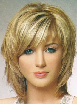 Layered Medium Straight Wigs Synthetic Hair Capless 12 Inches