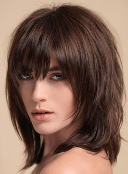 Layered Shag Hairstyle with Full Fringe Middle Length Synthetic Capless Women Wigs