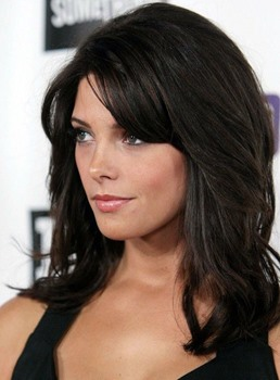 Ashley Greene Medium Length Slight Wave Side Fringe Synthetic Lace Front Wigs