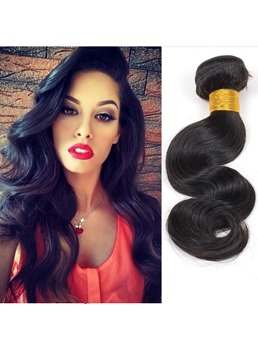 Super Saving Natural Black Body Wave Human Hair Weave 1 PC