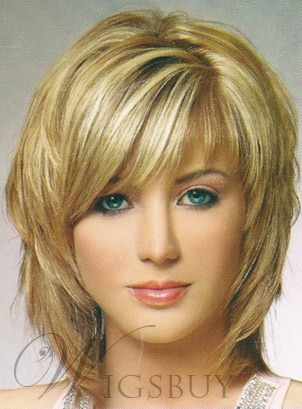 Charming Fluffy Layered Medium Straight Wig Synthetic Hair Capless 12 Inches 11644858