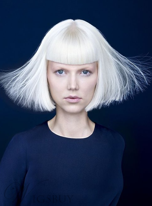Blunt Cut Medium Straight Synthetic Hair Capless Wigs with Bang