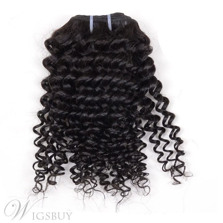 Super Save Natural Black Human Hair Weave Kinky Curly 1PC