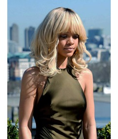 Rihanna Meidum Wavy with Full Bangs Capless Synthetic Hair Wig 16 Inches