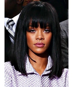 Rihanna Medium Lob Straight Capless Synthetic Hair Wig 14 Inches