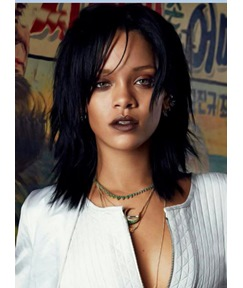 Attractive Rihanna Medium Straight Layered Capless Human Hair Wig 14 Inches