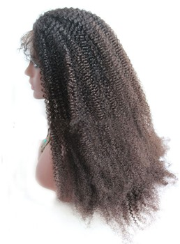 Kinky Curly African American Human Hair Lace Front Wigs 20 Inches