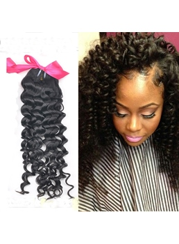 Top Quality Natural Black Human Hair Weave Kinky Curly 1PC
