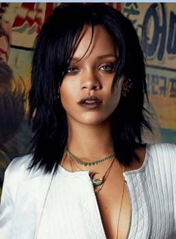 Rihanna Medium Straight Layered Capless Human Hair Wigs 14 Inches