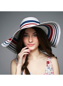 Tendenze colorati striscia ombra sole cappello di donne
