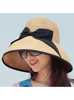 Bowknot Crimping Sandbeach Hat
