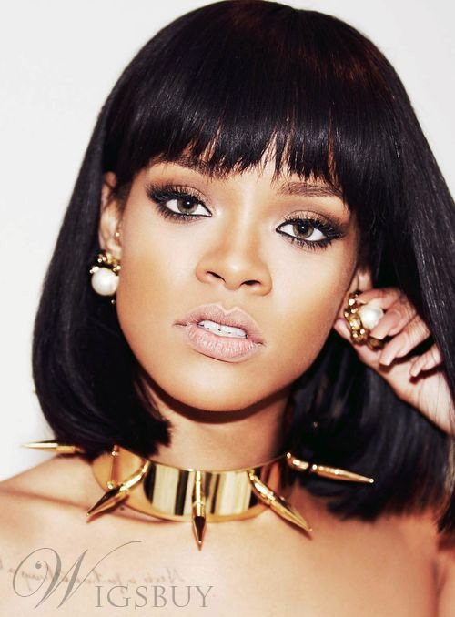Elegant Rihanna Medium Straight Capless Synthetic Hair Wig 12 Inches 11651909
