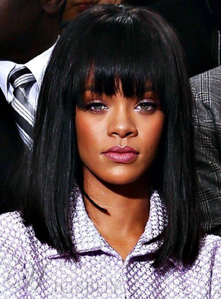 Rihanna Medium Lob Straight Capless Synthetic Hair Wig 14