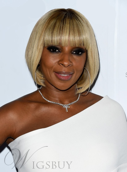 Mary J Blige Short Bob Staight Capless Synthetic Hair Wigs 10 Inches