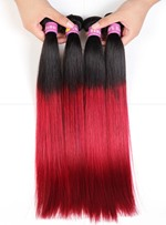 1B/ Burg Ombre Human Hair Straight Weave 1 PC