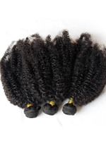 Afro Kinky Curly Natural Black Human Hair Weft 3 pcs 150g