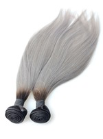 6A High Quality 1b/grey Omber Straight Human Hair Weave 1 PC