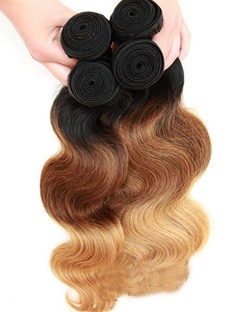6A Grade High Quality Body Wave 1B/4/27 Human Hair Weave 1 PC