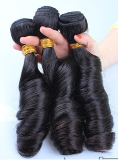 Natural Black Funmi Curly Human Hair Weave 1 PC 14 Inches