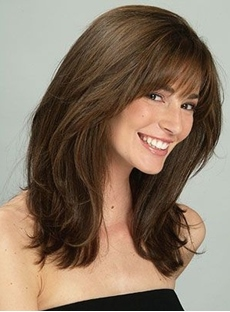 Sweet Shaggy Medium Straight Synthetic Hair Capless Wig 16 Inches