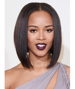Serayah McNeill Medium Straight Lob Lace Front Human Hair Wig 12 Inches