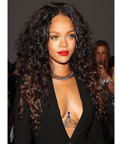 Rihanna Long Curly Lace Front Synthetic Hair Wigs 24 Inches